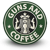 ecusson pvc 3d gomme GUNS AND COFFEE